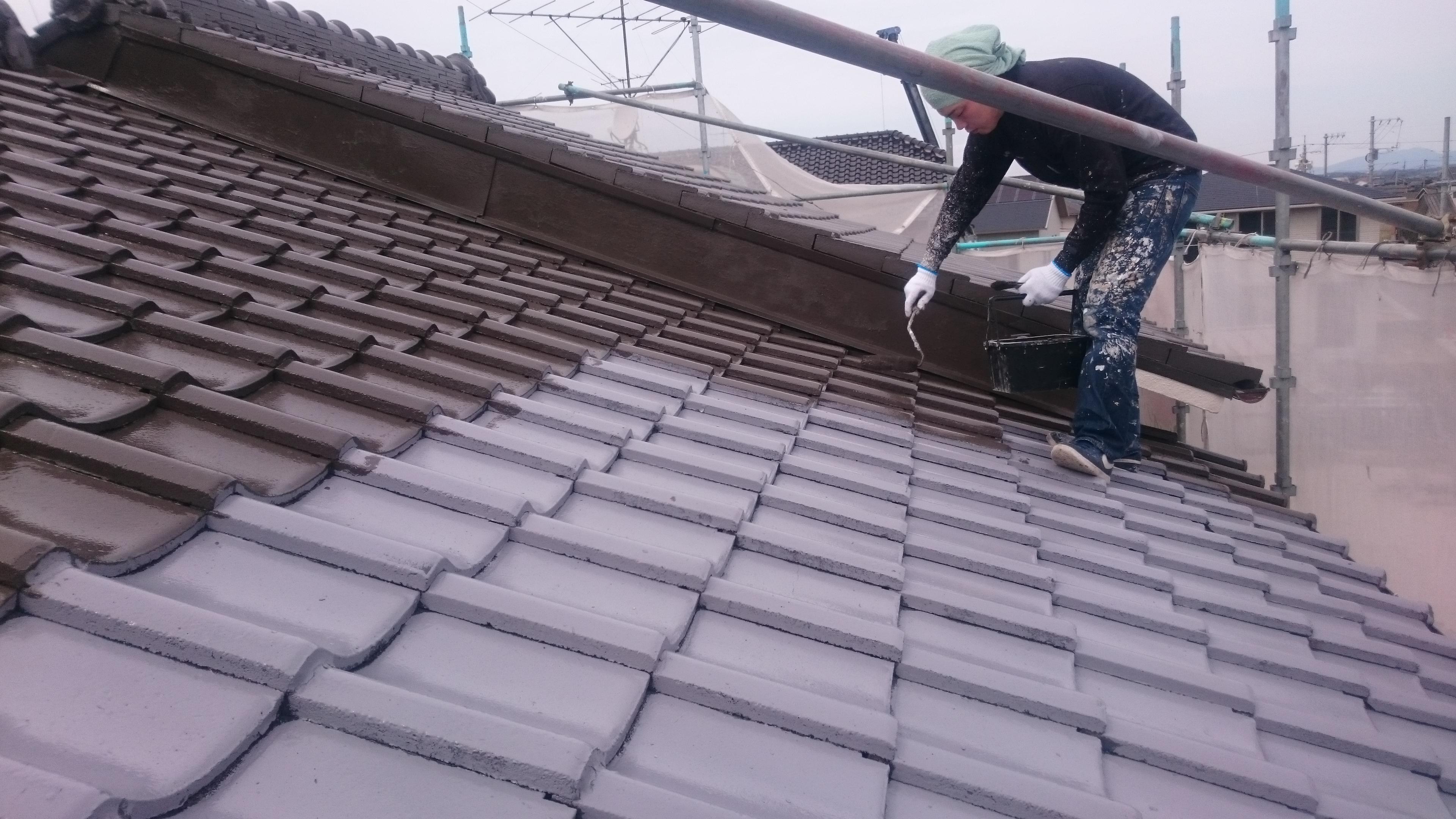 倉敷市S様邸 屋根塗装上塗り