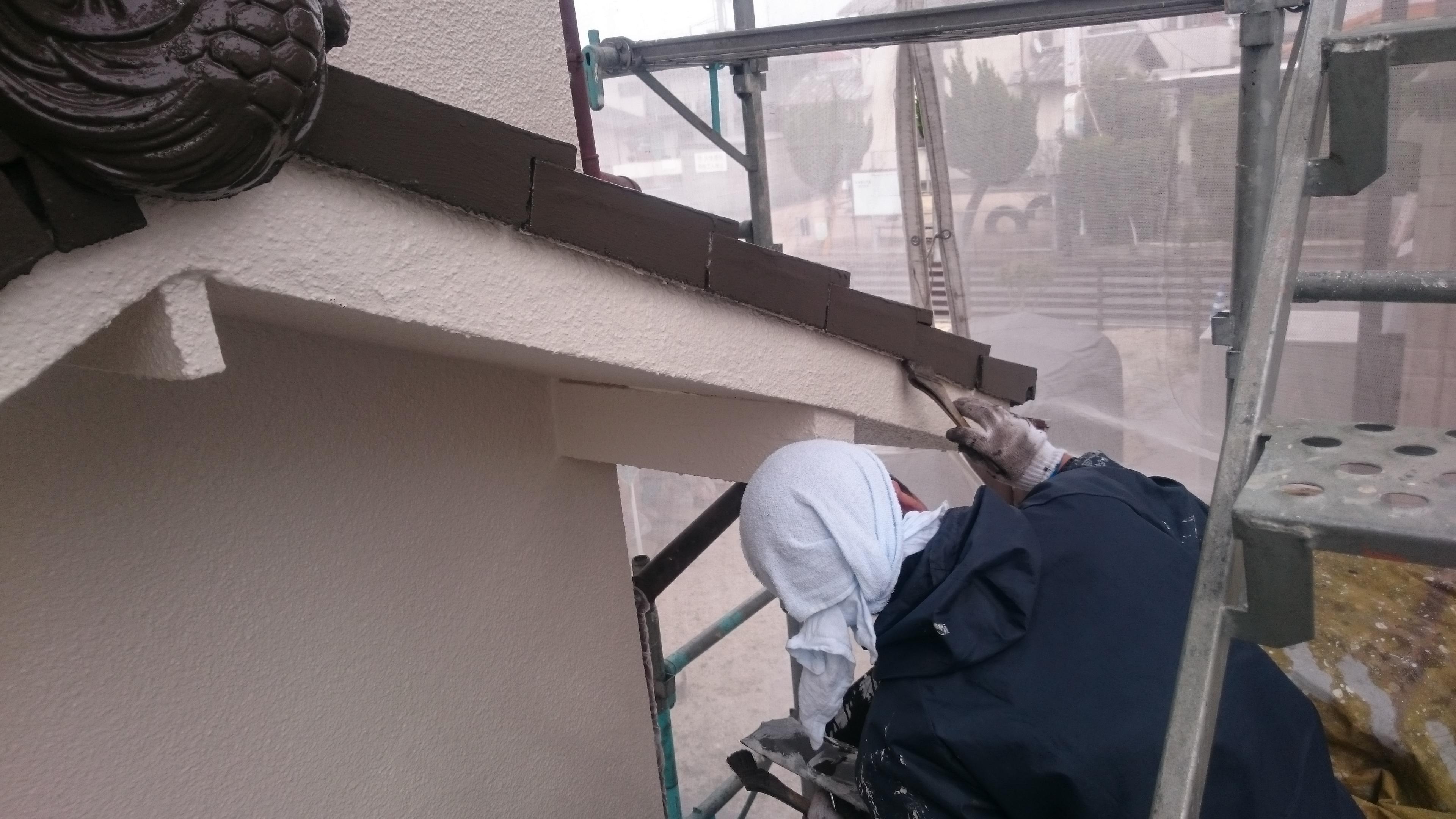 倉敷市S様邸屋根塗装上塗り