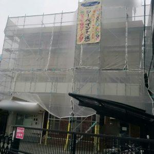 岡山市内 某 学生寮 足場組み完了