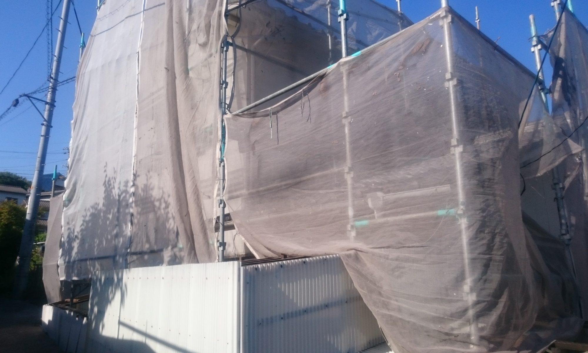 岡山市中区H様邸 足場完成