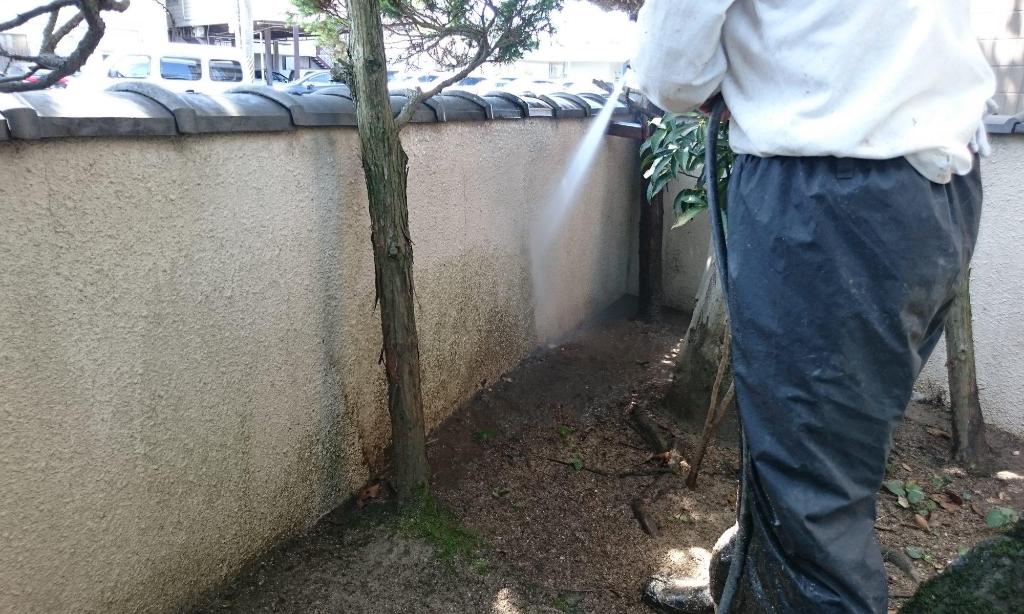 岡山市北区T様邸 外塀高圧洗浄