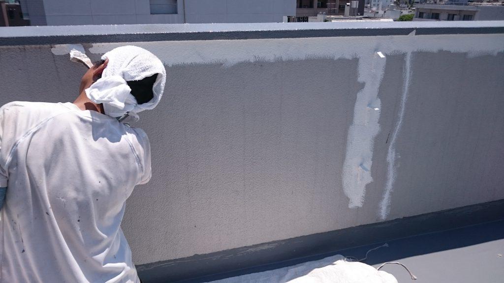 岡山市北区ビジネスホテル 屋上こしかべ上塗り