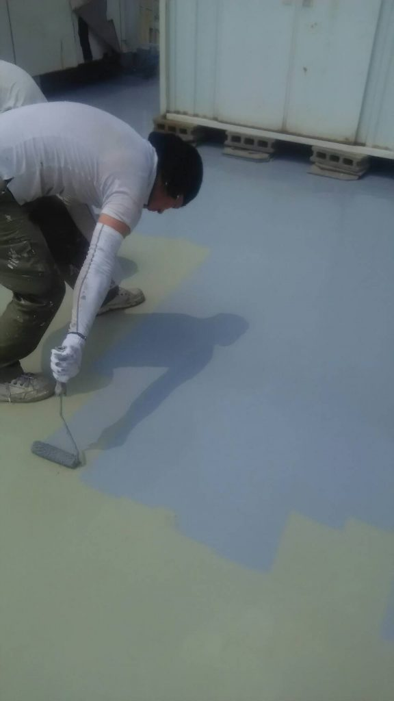 岡山市 某温泉旅館屋上防水塗装工事 トップコート