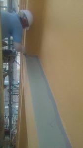 岡山市某ビジネスホテル 防水部トップコート塗り