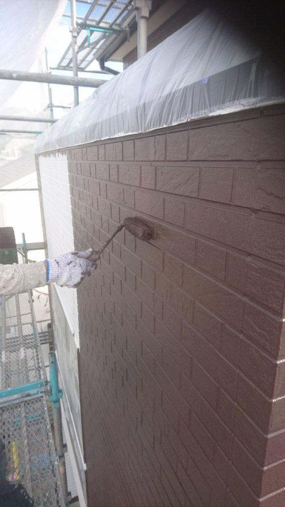 広島市S様邸 外壁上塗り