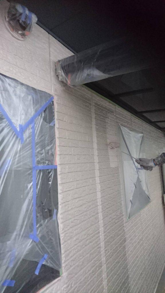 岡山県都窪郡S様邸 外壁シリコン塗料上塗り