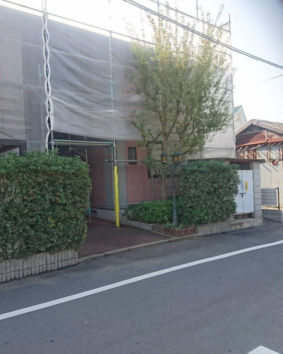 岡山市北区 某アパート 足場組完成