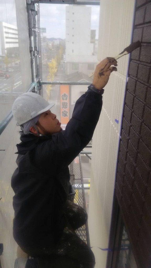 岡山市某グループホーム外壁アクセント色付け