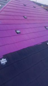 岡山市北区S様邸 屋根塗装中塗り