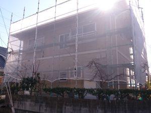 岡山市北区S様邸 足場組み完成