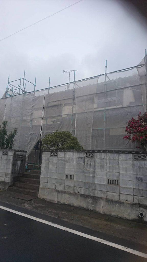 倉敷市N様邸 塗装現場(外壁)足場組完成