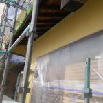 倉敷市N様邸 塗装現場(外壁) 中塗り作業
