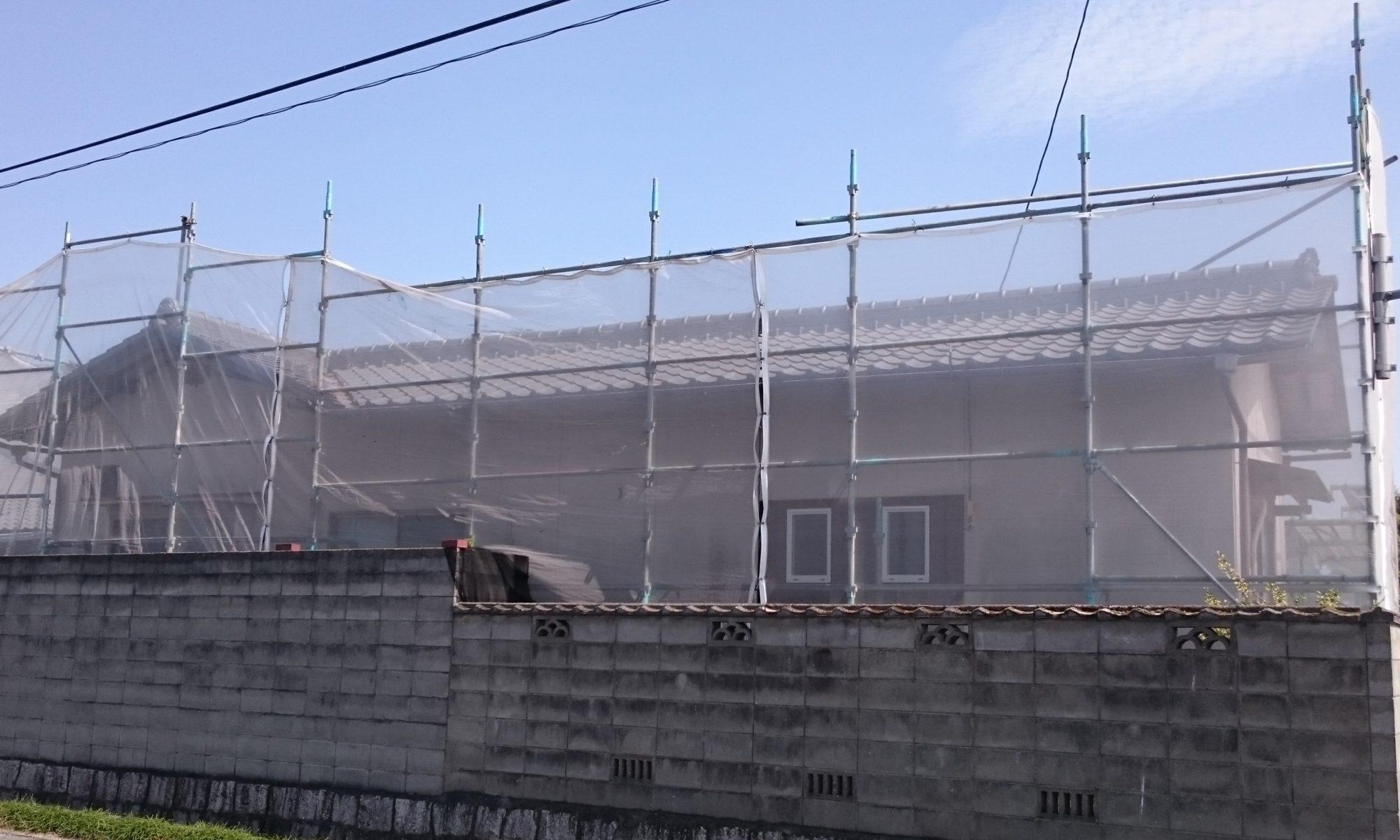 岡山市東区O様邸 足場組完了