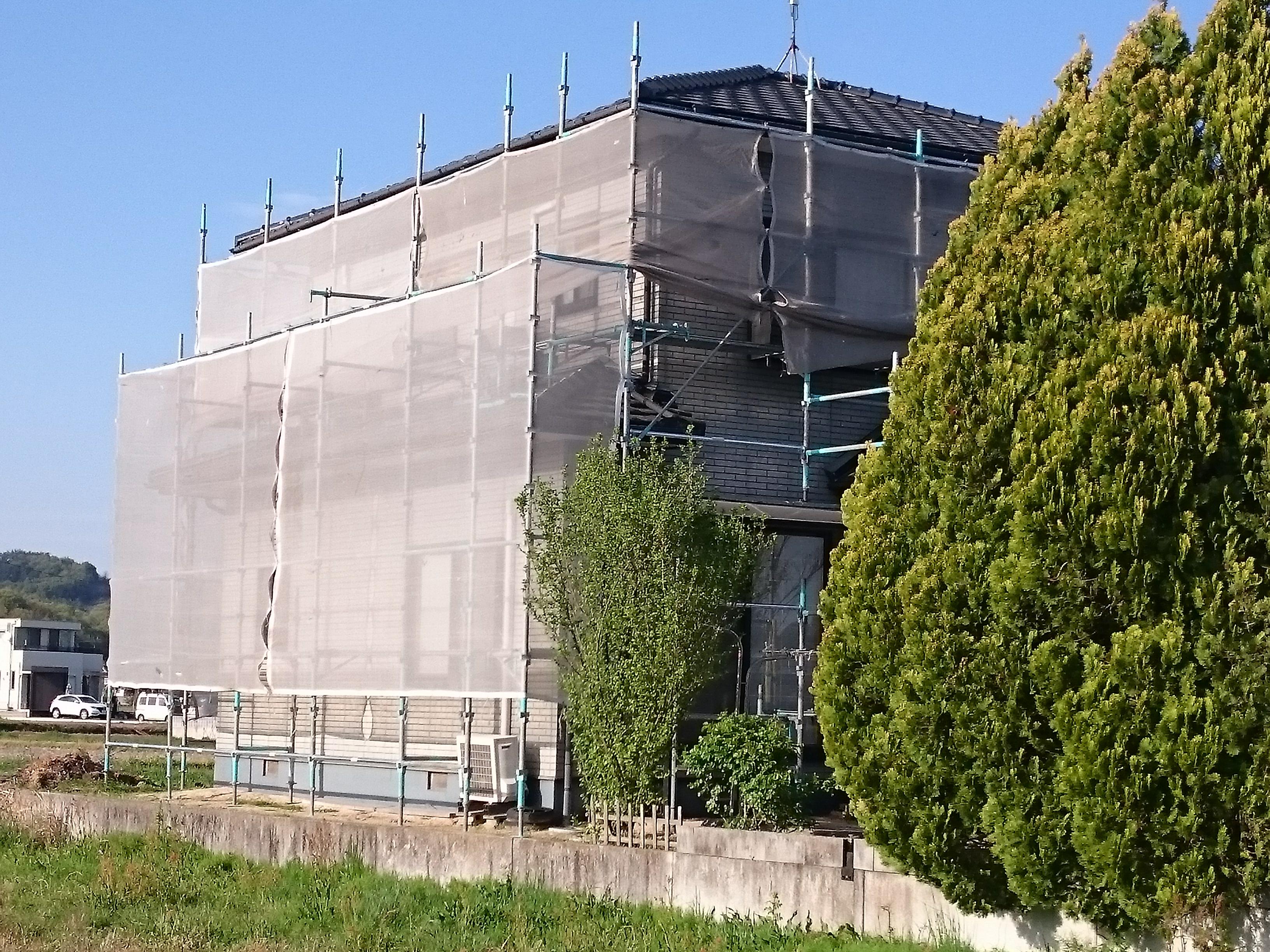 岡山市北区K様邸 足場組み完了