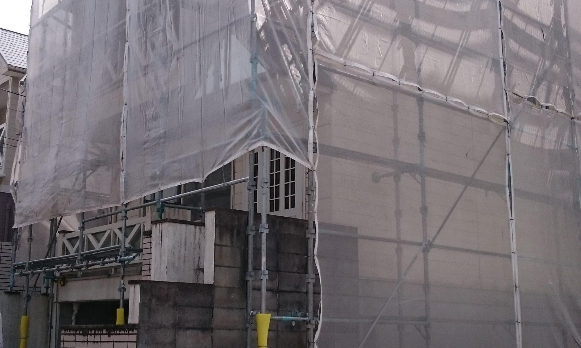 岡山市中区A様邸 塗装工事 足場組完成