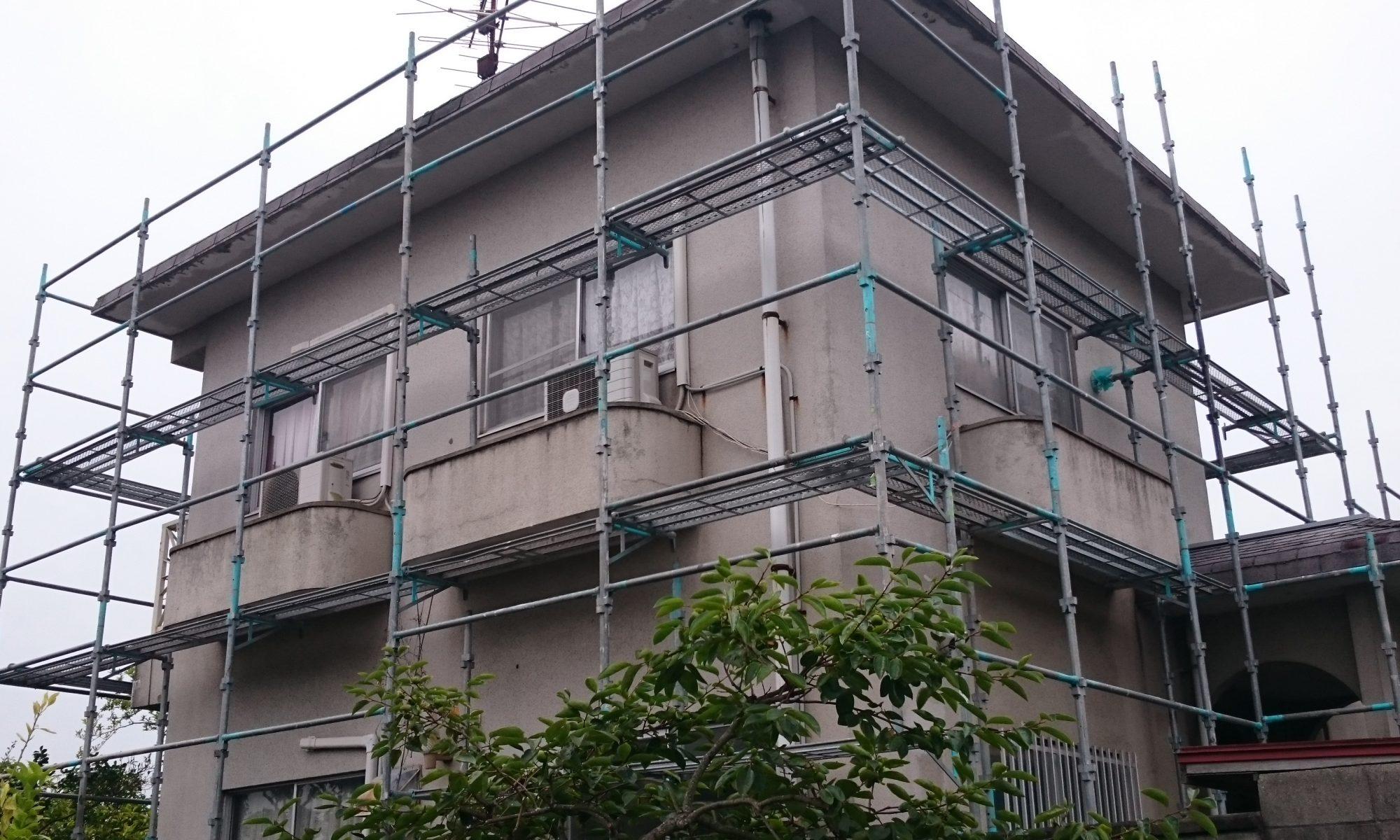 岡山市中区H様邸 足場組み