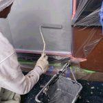 某店舗 ポスト塗装 シリコン樹脂中塗り