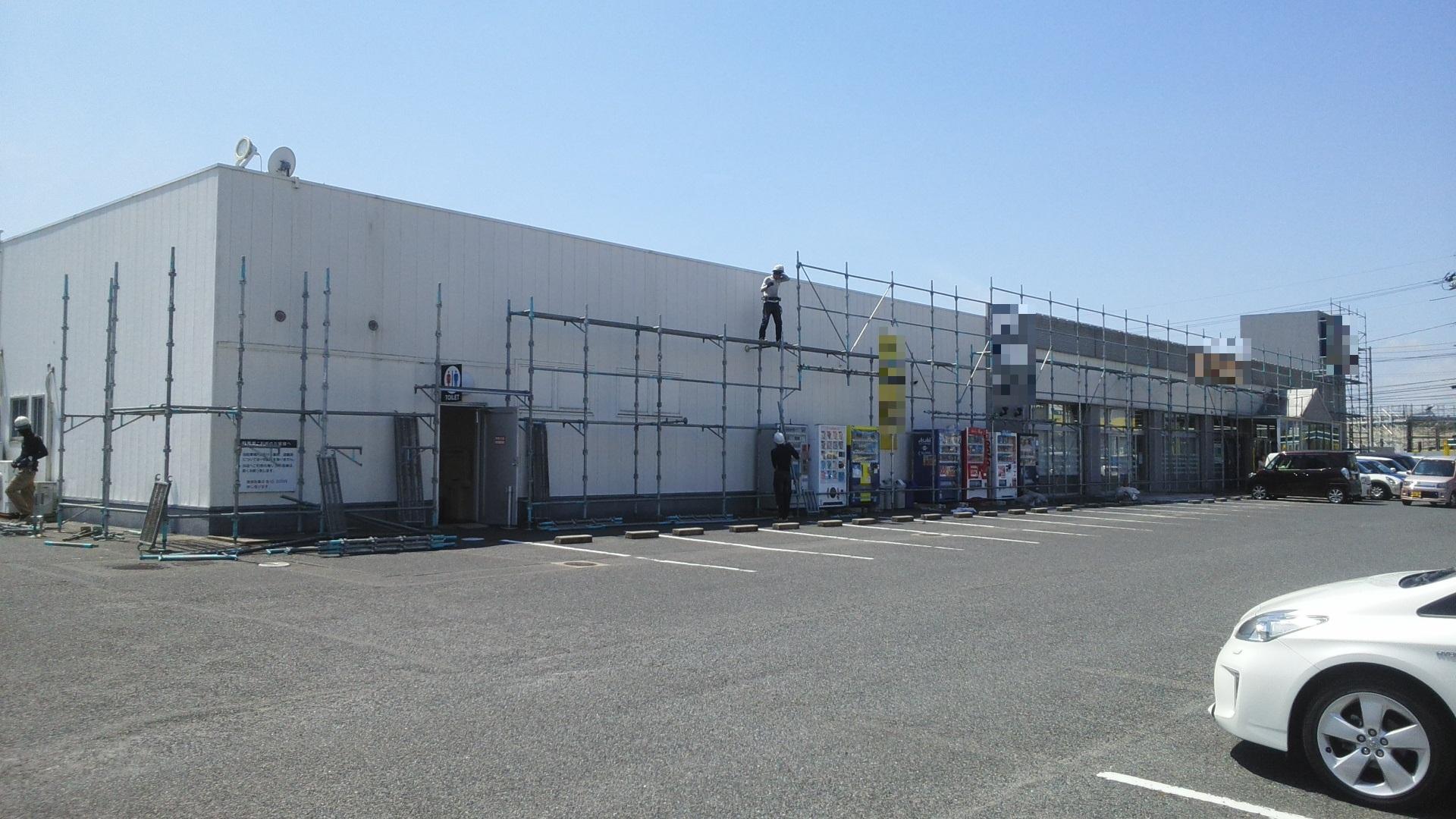 岡山県内 某大企業様 外部塗装工事 足場組み