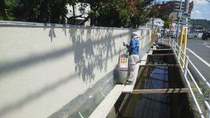 倉敷市某企業様 塀上塗り施工状況