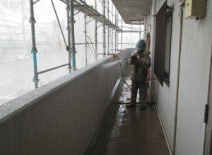 岡山市北区某ビル様 外壁内面高圧洗浄