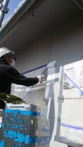 岡山市北区K.U様邸下塗り作業