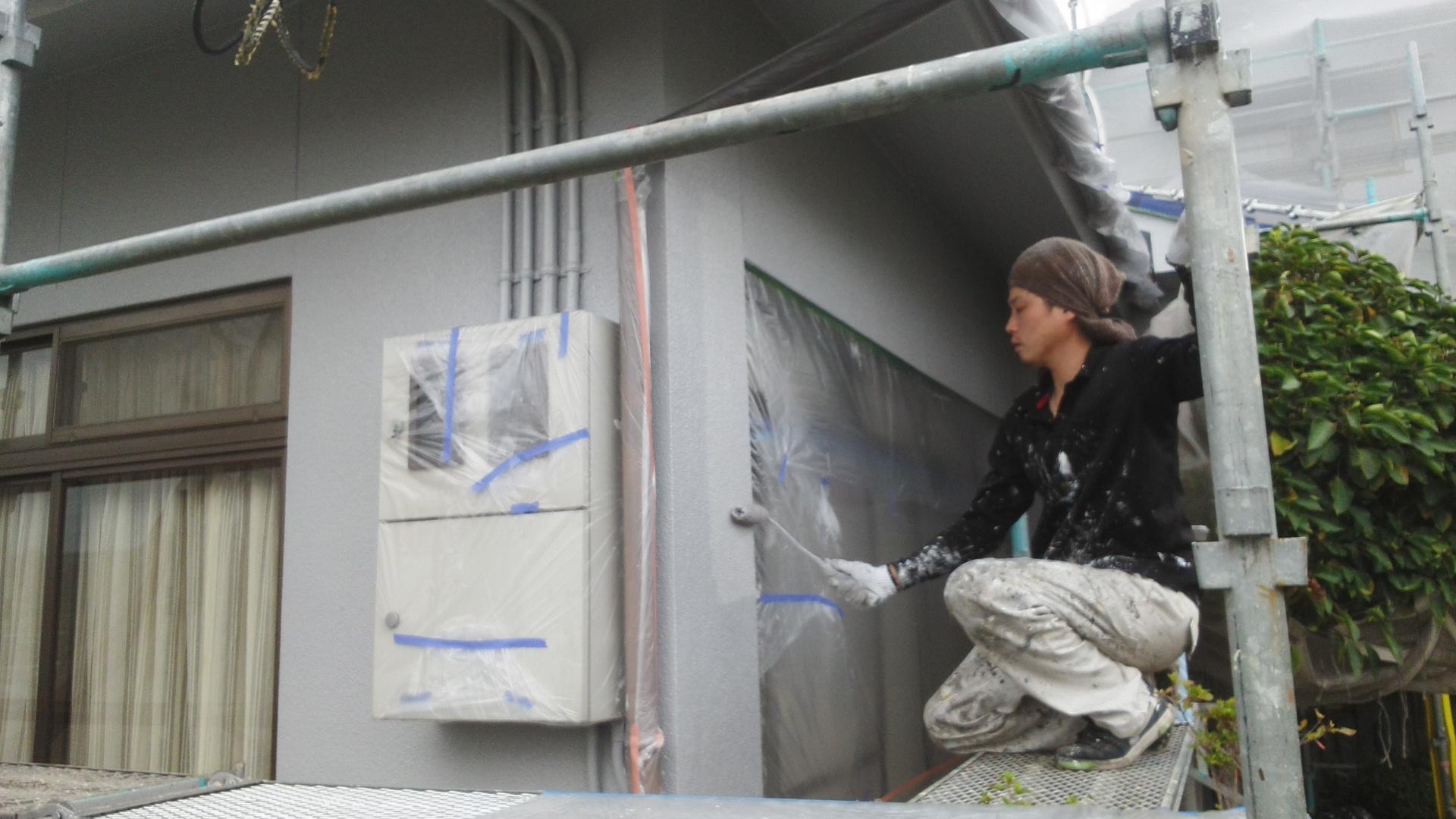 岡山市北区K.U様邸 外壁上塗り