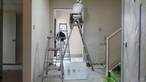 岡山市北区某施設様 内部の壁養生作業
