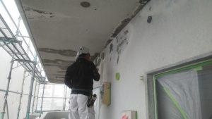 岡山市北区某ビル様軒裏・壁面補修
