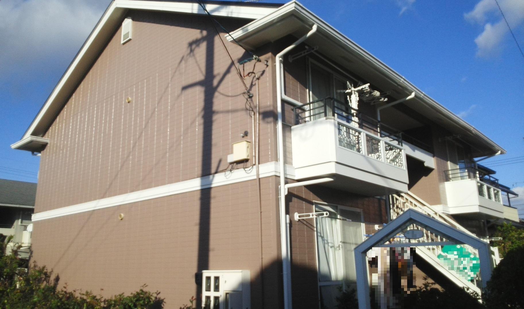 岡山市北区某コーポ様 屋根カラーベスト塗装工事・外壁塗装工事施工完了後