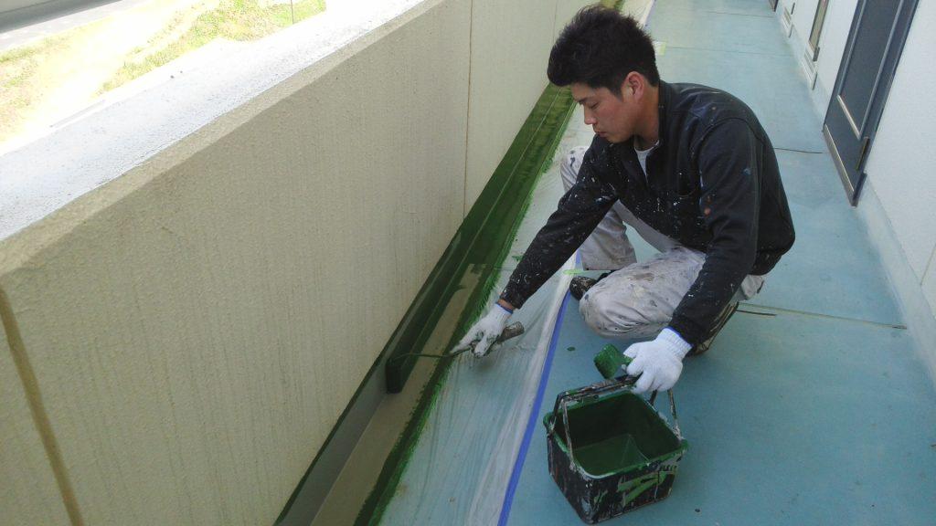 岡山県大型集合住宅 修繕工事 施工様子
