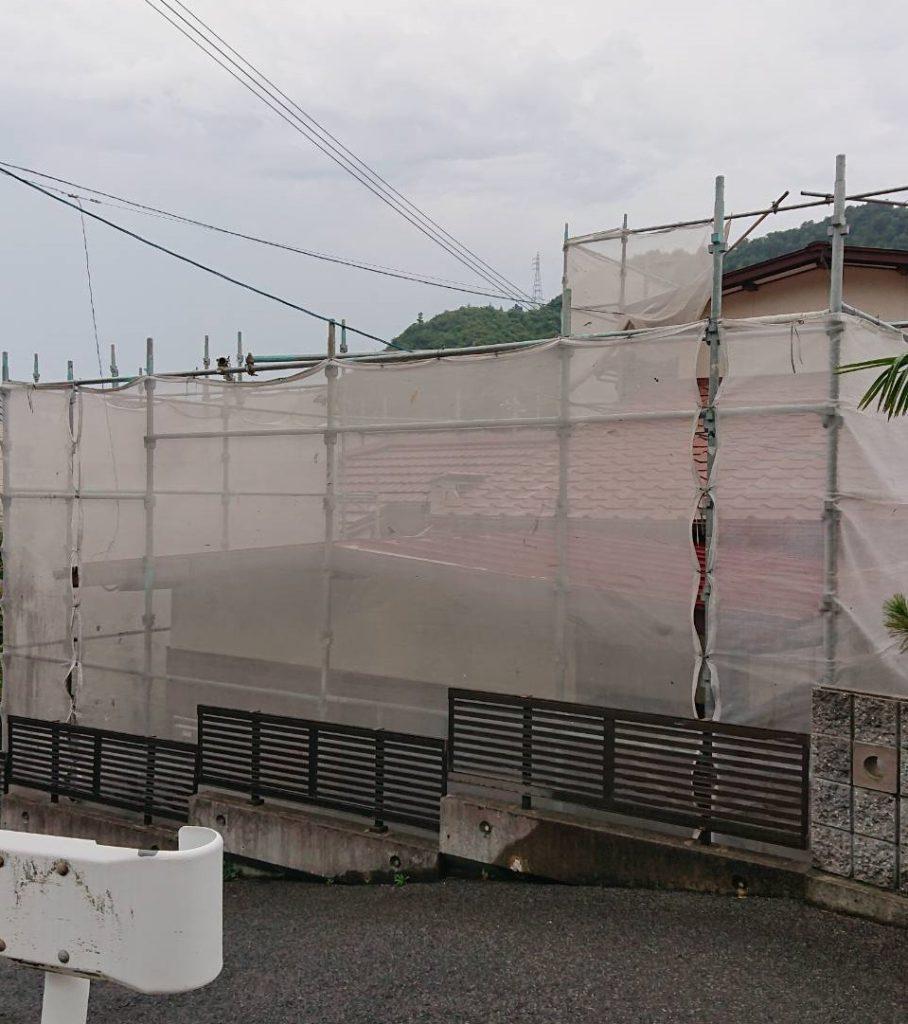 2019.7.16(月) 玉野市O様邸屋根・外壁塗装工事着工