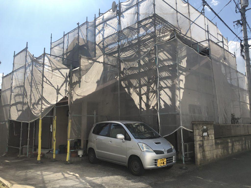 2019.7.22(月)岡山市中区O様邸屋根外壁塗装工事着工
