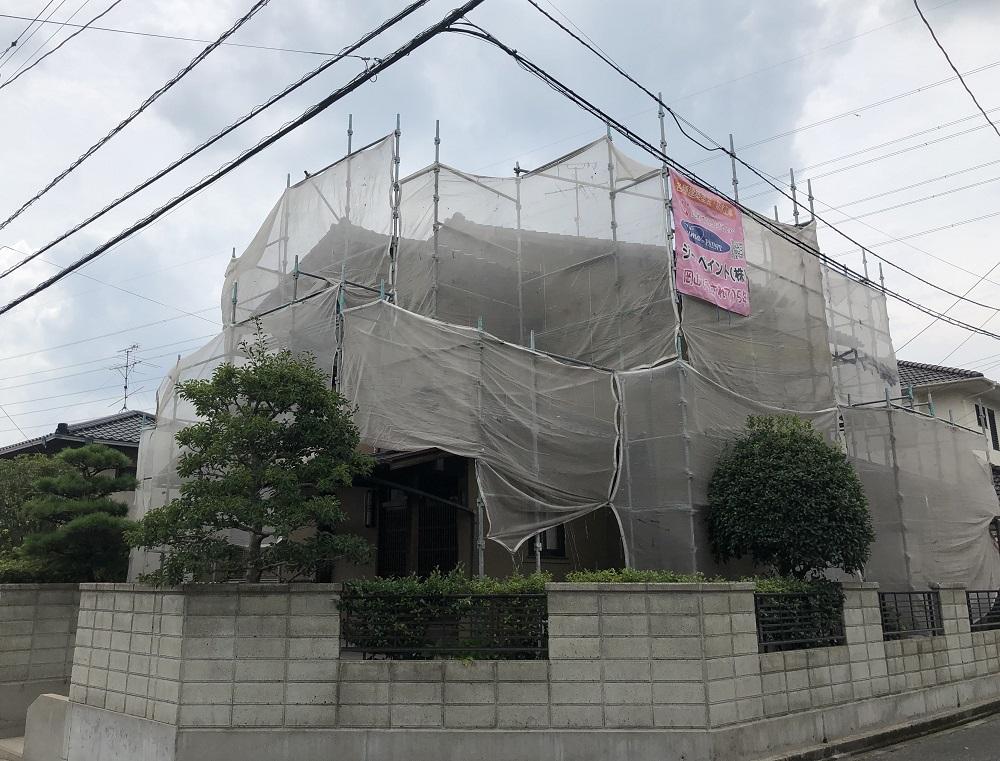 2019.8.17(土) 岡山市北区F様邸 屋根、外壁塗装工事 施工開始