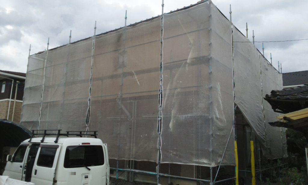 2019.10.3(木)総社市T様邸屋根、外壁塗装工事着工