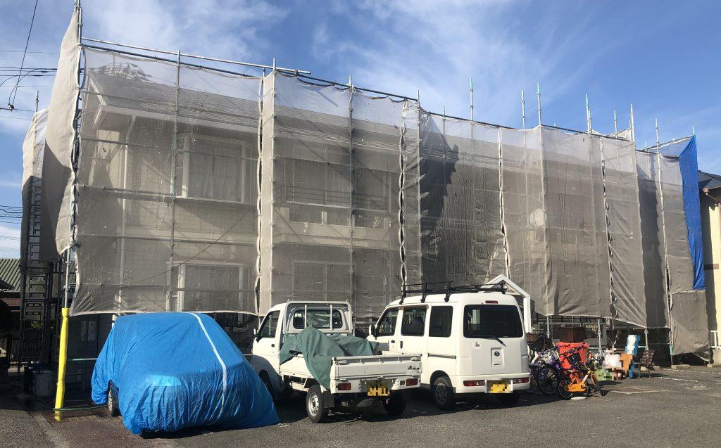 2019.10.15(火)岡山市北区某コーポ様 屋根、外壁塗装工事着工