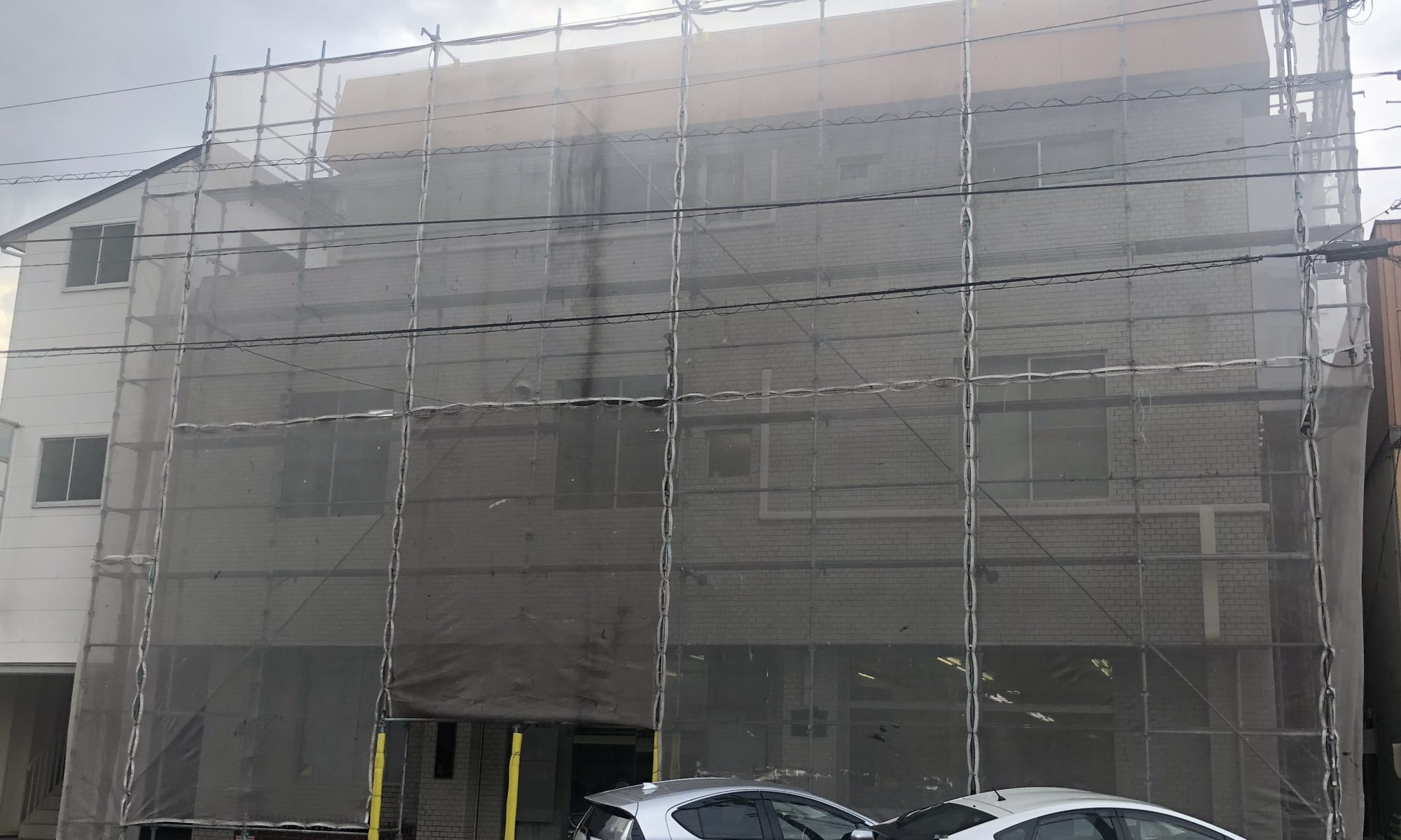2019.12.9(木)岡山市北区某ビル 外壁塗装 工事着工