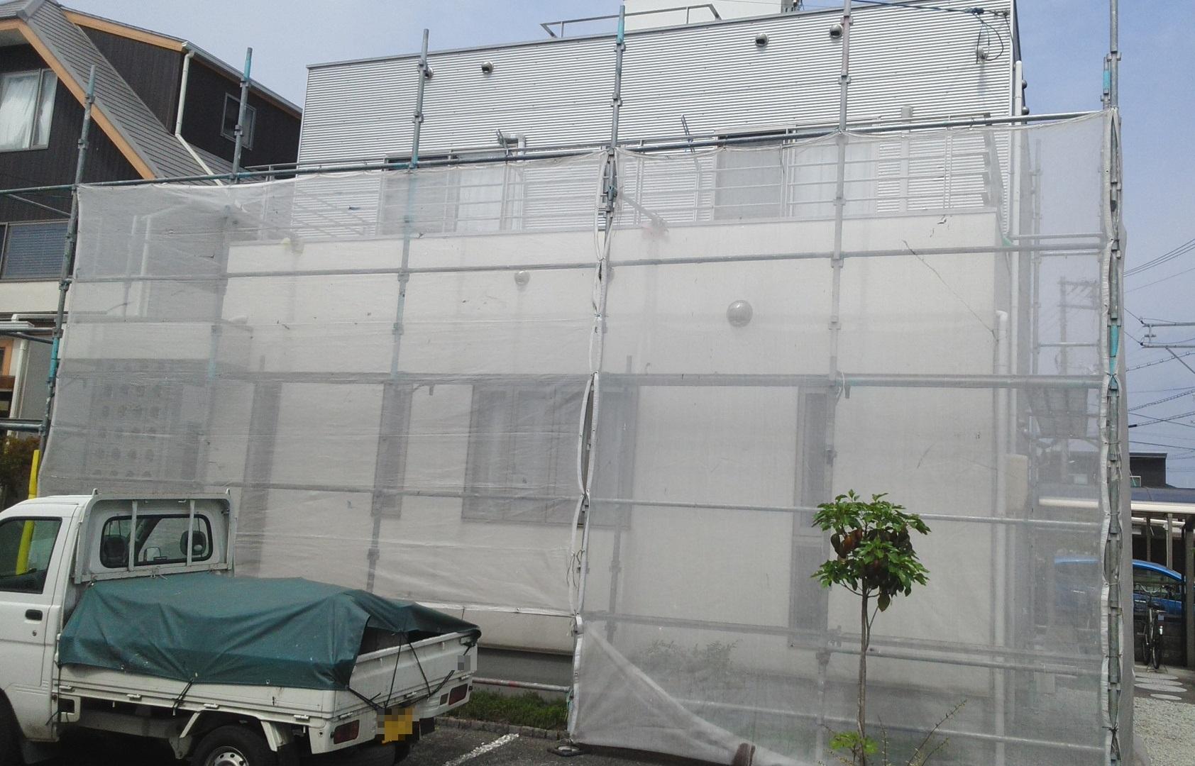 2020.05.26(火)岡山市北区H様邸 外壁塗装工事着工